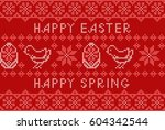 Stock vector happy easter embroidered handmade cross stitch ethnic greeting card on the red background vector 604342544