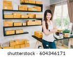 young asian small business... | Shutterstock . vector #604346171