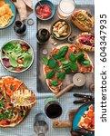 outdoors food concept. homemade ... | Shutterstock . vector #604347935
