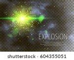 green glitter particles... | Shutterstock .eps vector #604355051