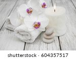 spa composition with orchids on ... | Shutterstock . vector #604357517