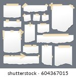 blank paper torn page notes... | Shutterstock .eps vector #604367015