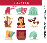 theater flat poster of symbolic ... | Shutterstock .eps vector #604367771