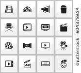 set of 16 editable movie icons. ... | Shutterstock .eps vector #604378634