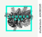 trendy summer tropical leaves... | Shutterstock .eps vector #604380185
