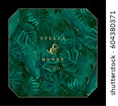 trendy summer tropical leaves... | Shutterstock .eps vector #604380371