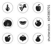 set of 9 editable dessert icons.... | Shutterstock .eps vector #604380701