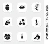 set of 9 editable food icons.... | Shutterstock .eps vector #604381001
