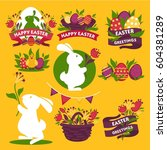 happy easter greeting logo... | Shutterstock .eps vector #604381289