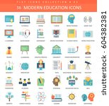 modern education flat icon set.... | Shutterstock . vector #604382381