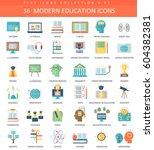 modern education flat icon set.... | Shutterstock . vector #604382381