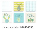 colorful happy easter greeting... | Shutterstock .eps vector #604384355
