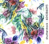 watercolor hand drawn floral... | Shutterstock . vector #604386095