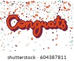 congrats red inscription on... | Shutterstock .eps vector #604387811