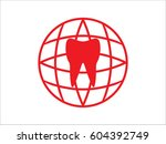 tooth  globe  icon  vector... | Shutterstock .eps vector #604392749