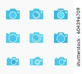 set of photo camera icon or... | Shutterstock .eps vector #604396709