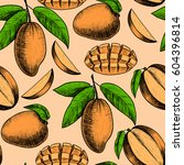 vector mango  hand drawn sketch.... | Shutterstock .eps vector #604396814
