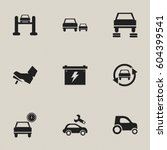 set of 9 editable vehicle icons.... | Shutterstock .eps vector #604399541
