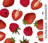 sketched fruits background.... | Shutterstock .eps vector #604404239