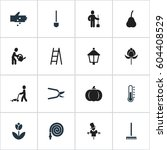 set of 16 editable plant icons. ...