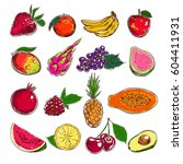 fruits collection. vector hand... | Shutterstock .eps vector #604411931
