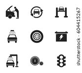 set of 9 editable car icons.... | Shutterstock .eps vector #604415267