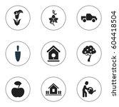 set of 9 editable plant icons....