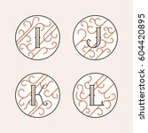 decorative initial letters i  j ... | Shutterstock .eps vector #604420895