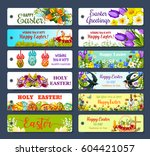 easter greeting tag set.... | Shutterstock .eps vector #604421057