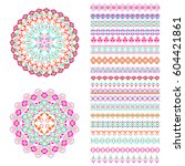 vector set of geometric borders ... | Shutterstock .eps vector #604421861