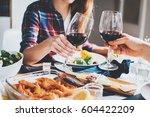 happy couple cheering with... | Shutterstock . vector #604422209