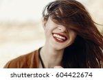happy stylish hipster traveler... | Shutterstock . vector #604422674
