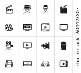 set of 16 editable filming... | Shutterstock .eps vector #604423307