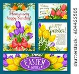 easter holidays spring flowers... | Shutterstock .eps vector #604423505