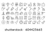 farm icons set on white... | Shutterstock . vector #604425665