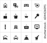 set of 16 editable motel icons. ...