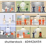 Jail Interior Set. Prison Room...