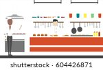 fast food kitchen. chefs fry... | Shutterstock .eps vector #604426871