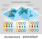 world map vector 3d paper with... | Shutterstock .eps vector #604430069