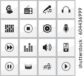 set of 16 editable music icons. ...