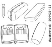 vector set of pencil case | Shutterstock .eps vector #604439435