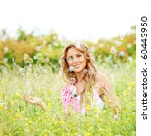 blonde starts soap bubbles | Shutterstock . vector #60443950