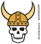 human skull and viking helmet... | Shutterstock .eps vector #604440299