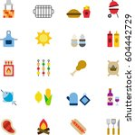 bbq colored flat icons | Shutterstock .eps vector #604442729