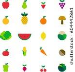 fruits   vegetables colored... | Shutterstock .eps vector #604442861