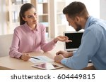 young managers discussing... | Shutterstock . vector #604449815