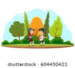 happy children go on a hike... | Shutterstock .eps vector #604450421