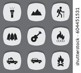set of 9 editable camping icons....