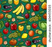 vegetables and fruits  pixel.... | Shutterstock .eps vector #604455035