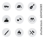 set of 9 editable camping icons.... | Shutterstock . vector #604456085